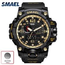 SMAEL S Choc Militar Montre Sport Numérique Étanche Horloge Hommes Dual Time Montre-Bracelet Armée LED Relogio Esportivo Hommes Montre or