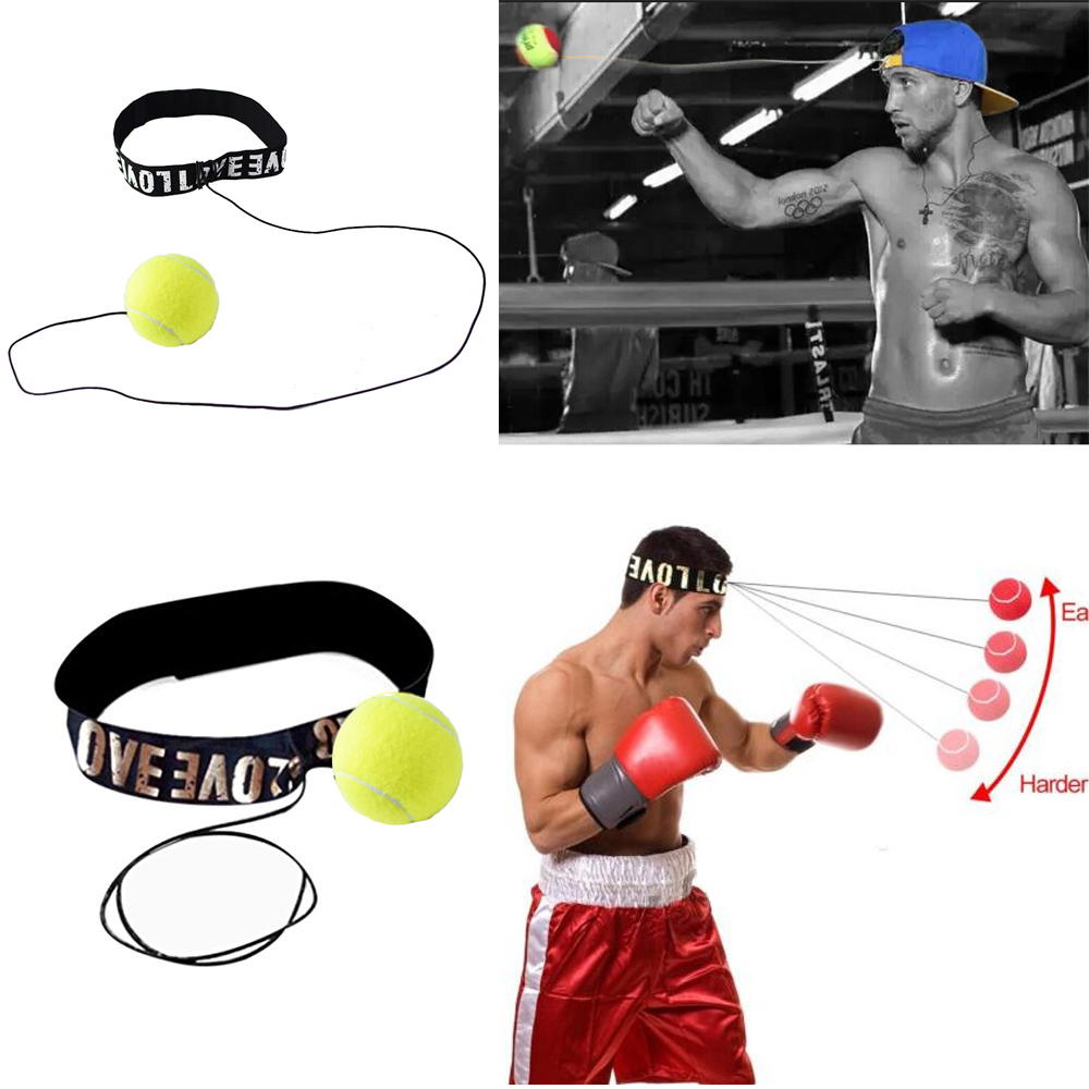 Red Fight Ball With Head Band Reflex Speed Training Boxing Punch Exercise Style
