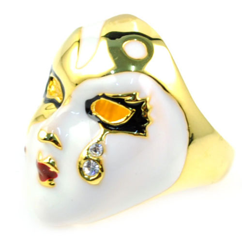 Fashion Light Gold Color Cocktail Ring for Women Bar Mask Steampunk Jewelry Ring Cubic Zirconia Tear Rings Collier Femme RN-597