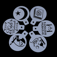 6 قطعة عيد مبارك رمضان ماكينة الطباعة على وجه فناجين القهوة قالب رذاذ الاستنسل مجموعة DIY بها بنفسك كعكة فندان البسكويت أدوات الديكور