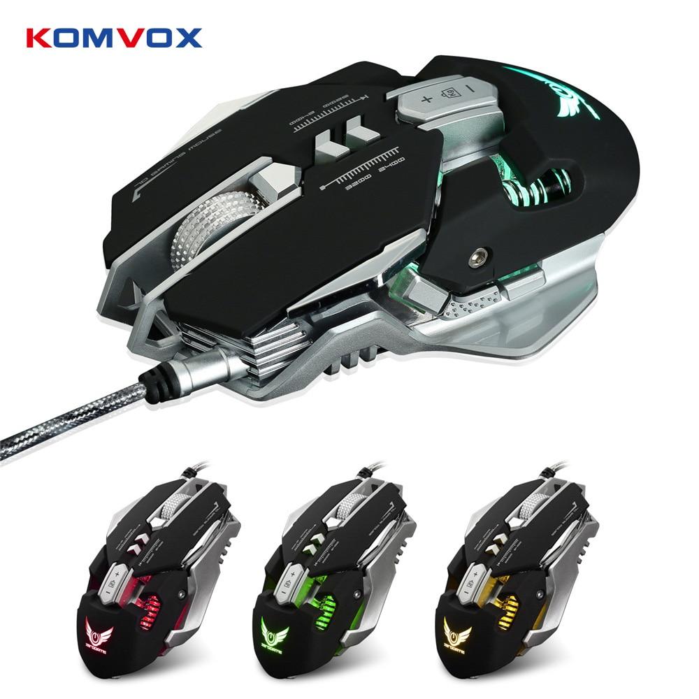 Souris de jeu filaire USB professionnelle 7 boutons réglable 3200 DPI LED lumière Variable USB souris de jeu mécanique pour ordinateur portable PC