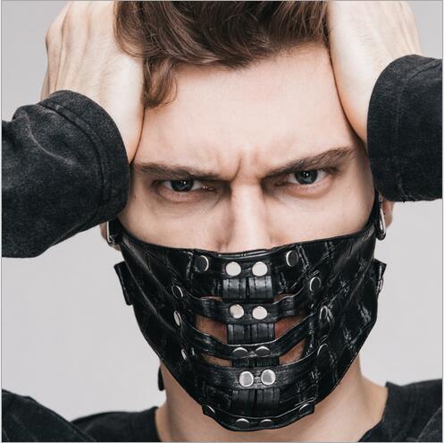 Chaud! Steampunk gothique lavage cuir demi masque visage hommes femmes cagoule chapeau cagoule Ski vélo coupe-vent masque visage moto masque