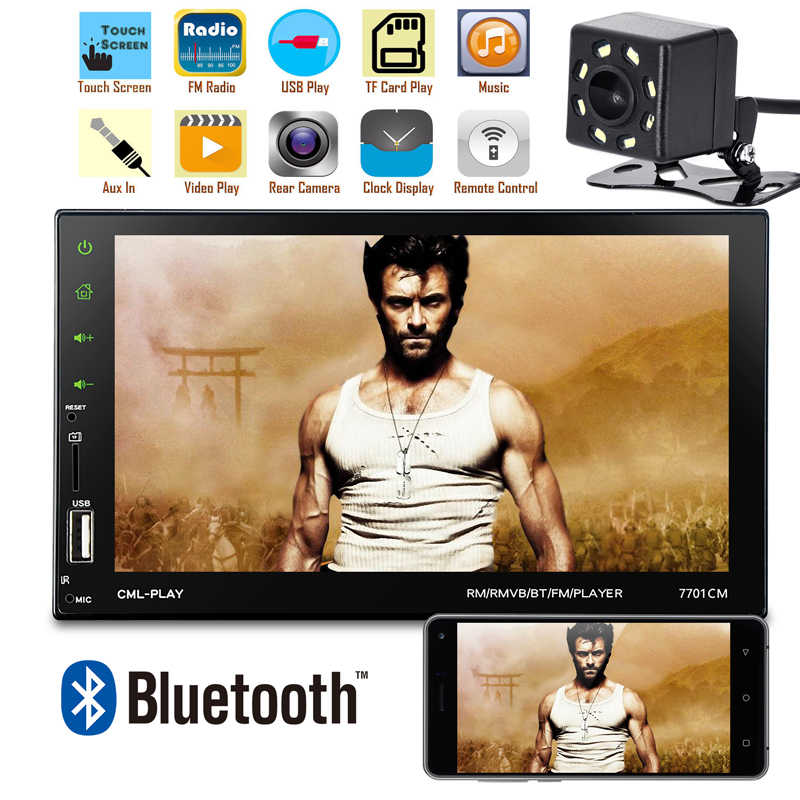 "7"" 2 Din Car Radio MP5 Player 7701 Touchscreen Autoradio Auto Radio Player Bluetooth Mirror Link Rear View Camera FM Car Stereo"