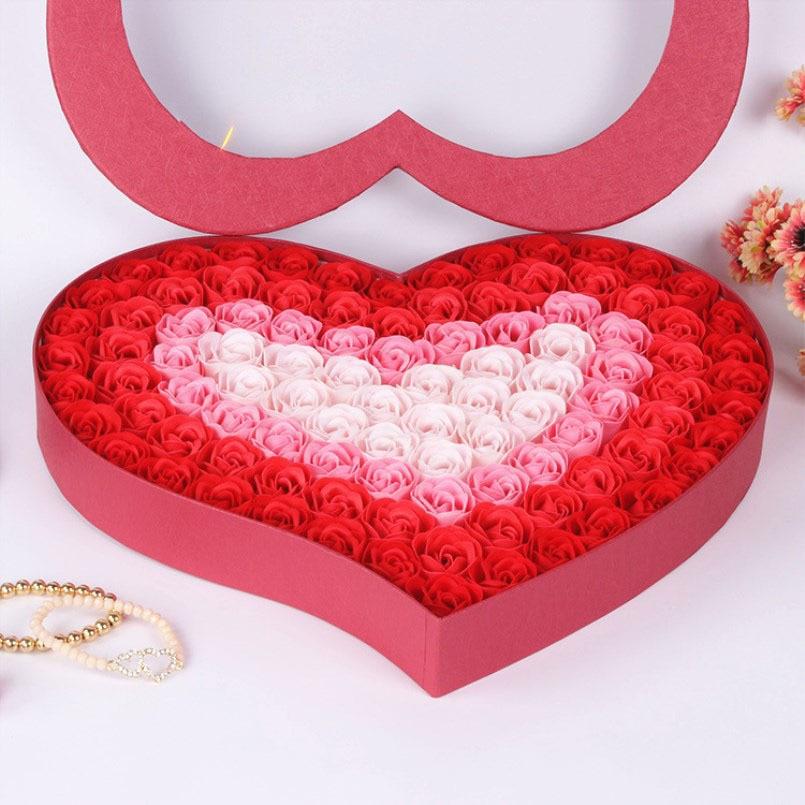 Nouveau 99 pièces Rose savon fleur cadeau boîte aimant fleurs saint valentin cadeau de mariage cadeaux pour invités mariage Souvenir pour demoiselle d'honneur