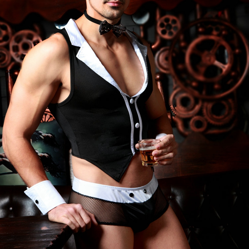 Men's Butler Waiter Lingerie Suit Tuxedo G-string Thong Underwear with Bow Tie Collar and Bracelets Sexy Costumes 9823