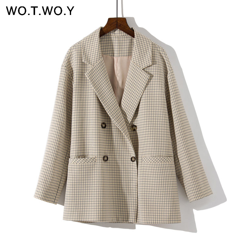 Image 4 - WOTWOY Double Breasted Plaid Blazer Women Khaki Pocket Long Sleeve Office Ladies Blazer Autumn Jacket Female Outerwear Coats-in Blazers from Women's Clothing