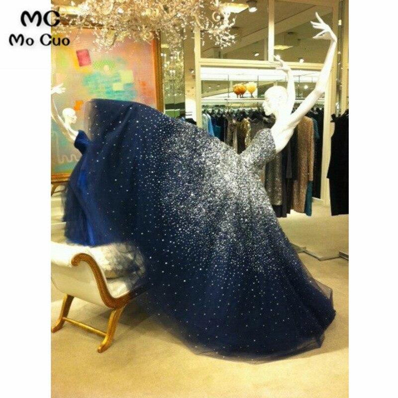 Robe de Bal Élégante robes De Soirée Longues avec Chérie Perlée Tulle Bleu Marine robe pour l'obtention du diplôme Robe de Soirée Formelle des Femmes