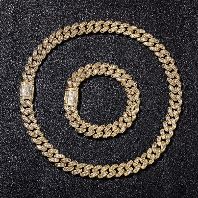 Bling glacé chaîne à maillons cubains Hip Hop Micro Pave AAA carré zircone colliers pour hommes mode rappeur bijoux