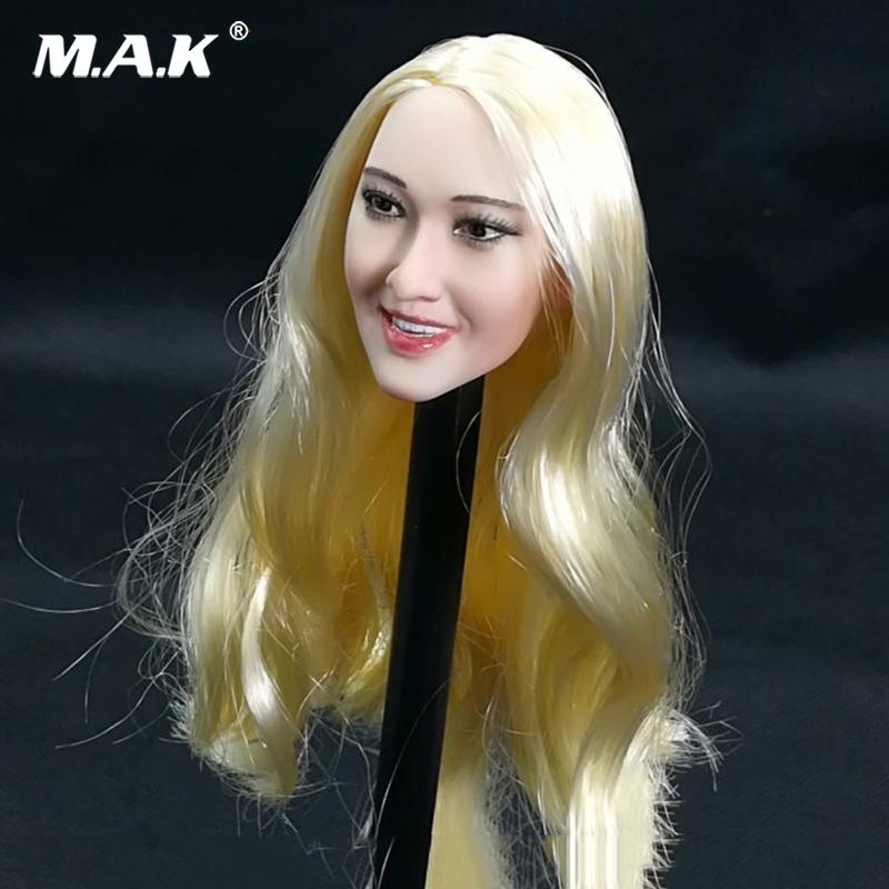 1/6 Scale Female girl Head Sculpt 1/6 US Star Blond Curls Long Hair Ivanka Trump long straight golden hair for 12 inches Figures