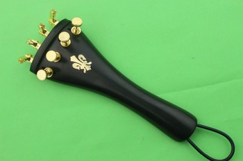 10 sets ebony 4/4 violin Accessories tailpiece. golden fine tunres