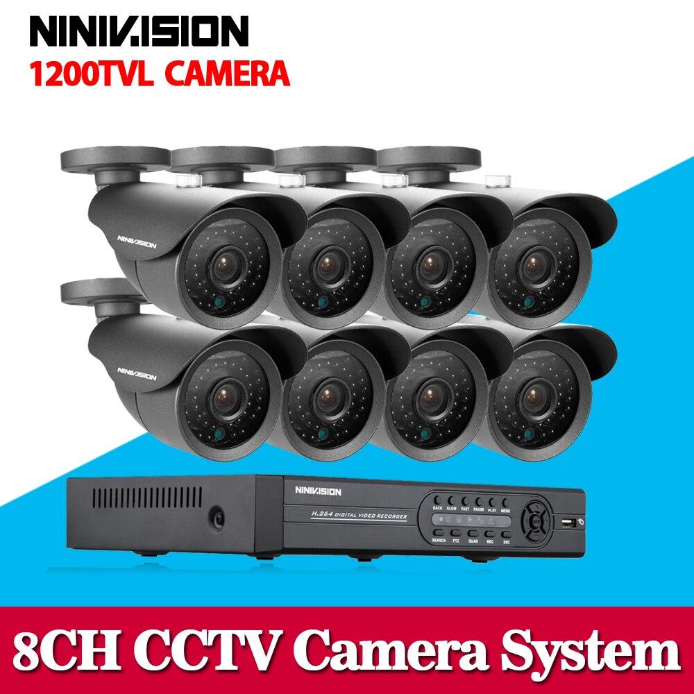 NINIVISION HD 1200TVL Camera video surveillance 8ch 1080N CCTV DVR HVR NVR system security camera system with hdmi 1080p no HDD