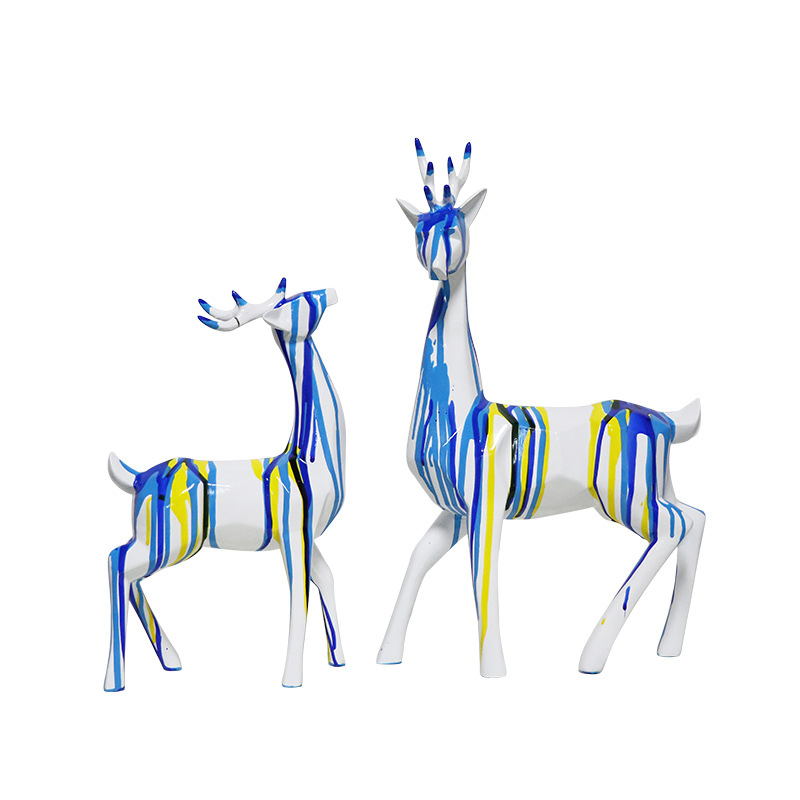 Modern Geometric Flowing Color Deer Art Sculpture Abstract Animal Statue Resin Craft Home Decorations Accessories R1315