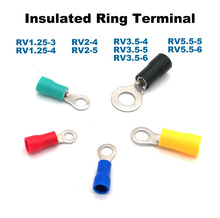 цена на 50pcs Ring Insulated Crimp terminal electrical wire connector RV1.25-3 1.25-4 2-4 2-5 3.5-5 3.5-6 5.5-5 5.5-6 cable ferrules