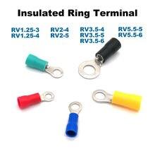 Pcs Anel Isolados Friso do terminal conector do fio elétrico RV1.25-3 50 1.25-4 2-4 2-5 3.5 -5 3.5-6 5.5-5 5.5-6 virolas cabo