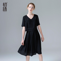 Toyouth Women Summer V Neck Plated Straight Dress Fashion Short Sleeve 2017 New Arrival Loose Chiffon