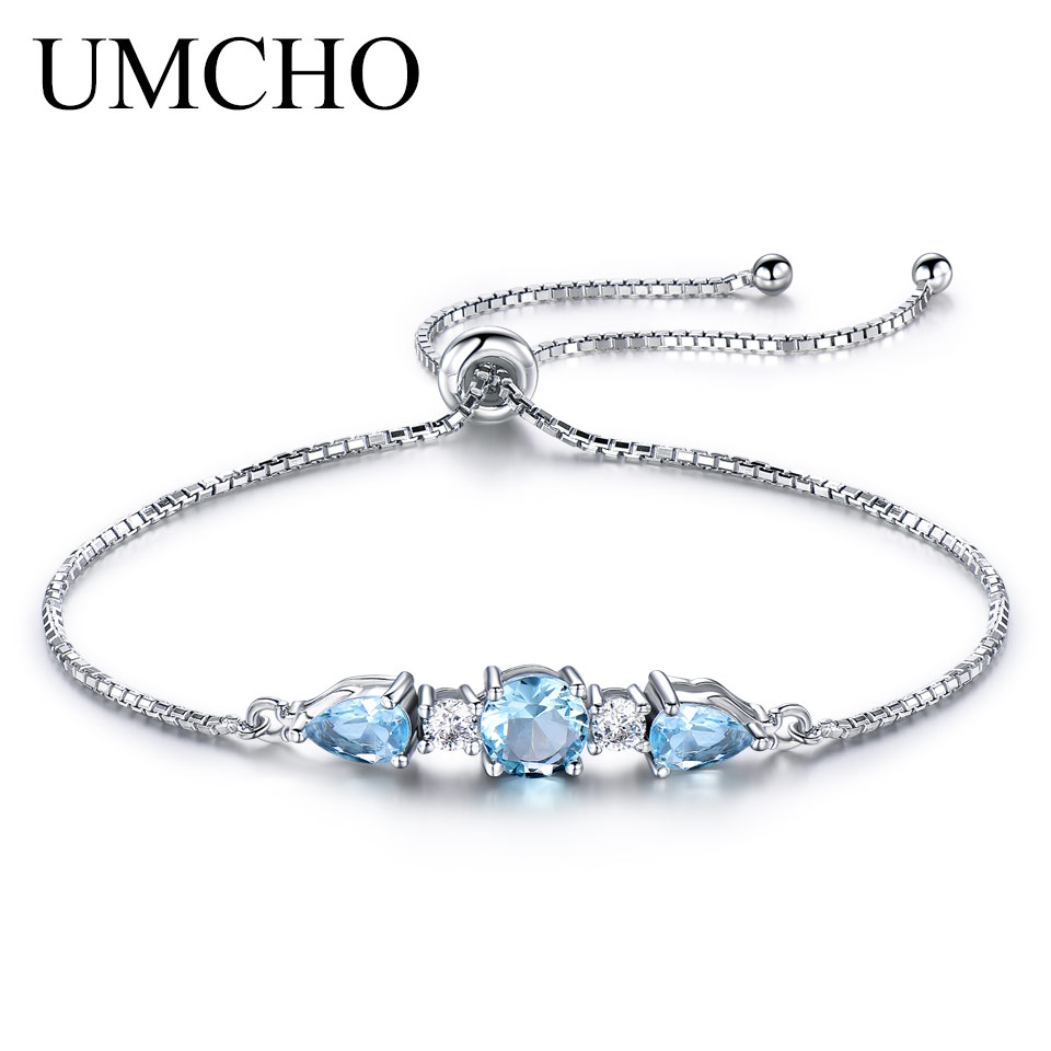 UMCHO Solid 925 Sterling Silver Bracelets & Bangles For Women Natural Sky Blue Topaz Adjustable Tennis Bracelet Fine Jewelry New charter club new blue sky women s medium m cable knit crewneck sweater $59 359