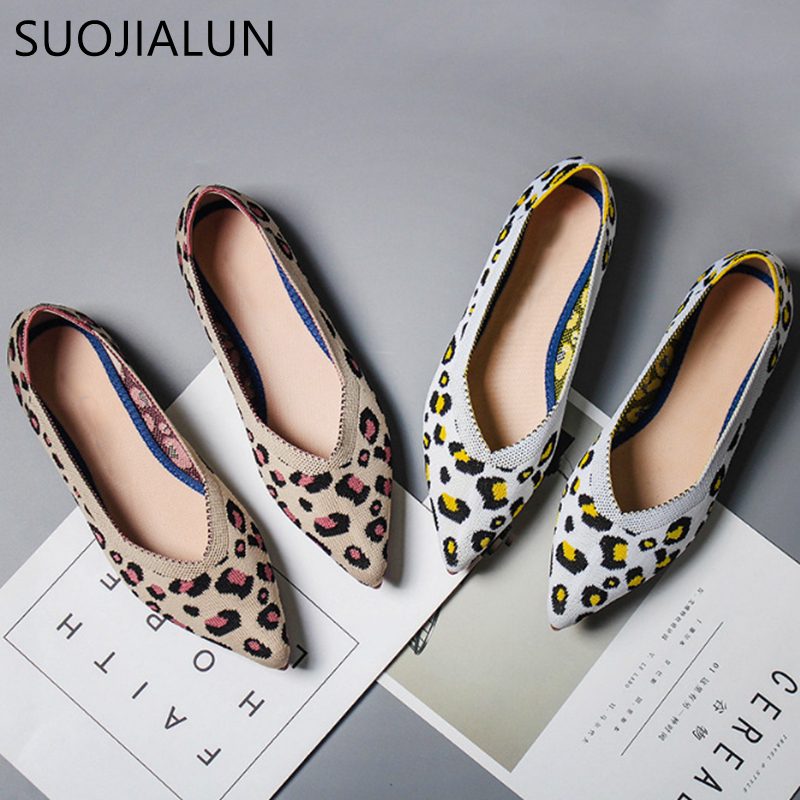 SUOJIALUN 2019 New Spring Women Flats Shoes Leopard Print Women Shoes Casual Single Shoes Ballerina Women Shallow Mouth Shoes(China)