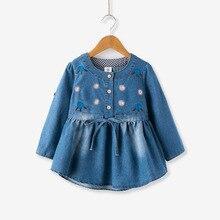 Mother Kids - Childrens Clothing - Godier Princess Baby Girls Dresses Denim Casual Style Girl Dress Spring Autumn Long Sleeve Fashion Toddler Floral Kids Vestidos