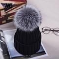 2016 норки и лисий мех мяч шапка pom зимняя шапка для женщин девушки шерсть шляпа трикотажные хлопок шапочки шапка новый толстая женщина cap