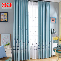 Stars Castle Cotton Linen Curtains For Kids Bedroom Embroidered Blue Cartoon Children Curtains Fabric Voile Window