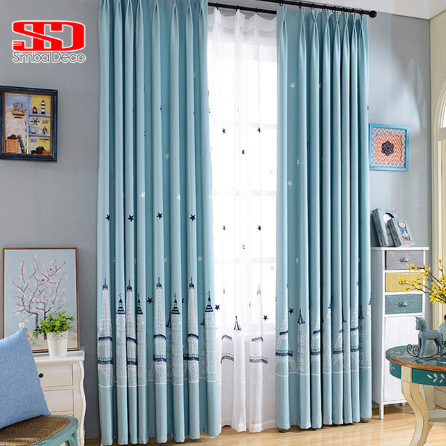 Stars Castle Cotton Linen Curtains for Kids Bedroom Embroidered ...