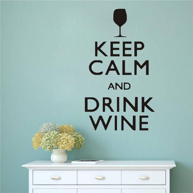 Keep calm and drink wine wall stickers funny bar pub wall art decor home decor wall