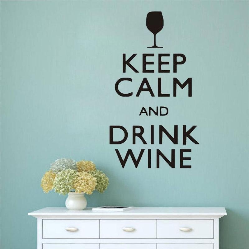 Keep Calm And Drink Wine Wall Stickers Funny Bar Pub Wall Art Decor Home Decor Wall Decals Vinyl Murals Sticker