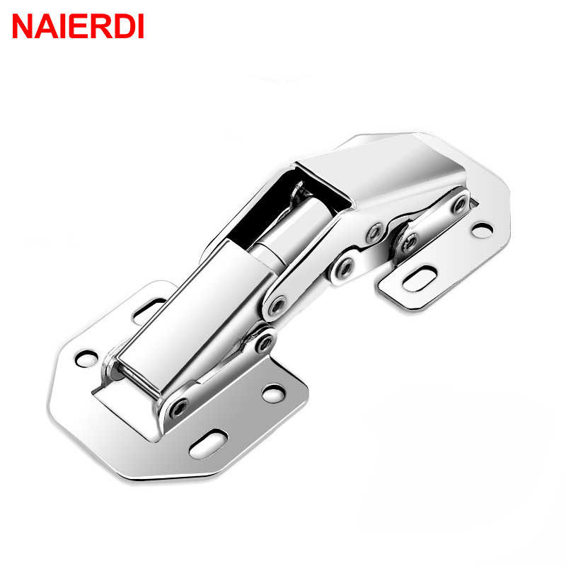 NAIERDI 90 Degree 3 Inch No-Drilling Hole Cabinet Hinge Bridge Shaped Spring Full Overlay Cupboard Door Hinges With Screws