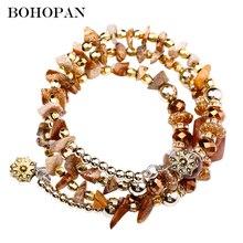 Bohopan Multi-layer Natural Stone Bracelets Bangles Women Boho Crystal Beads Charm Bracelets Party Adjustable Jewelry Trend 2019