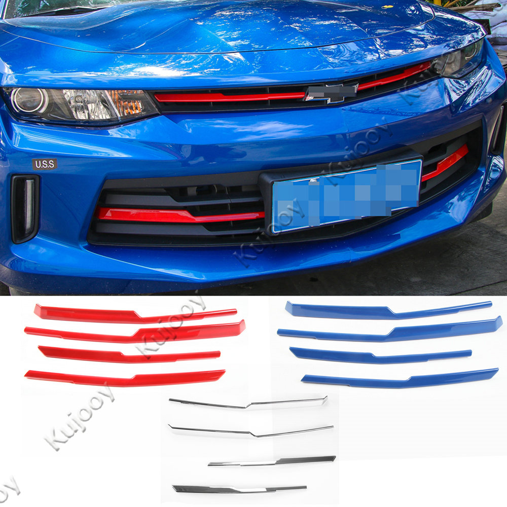 4Pcs Red/ Blue/ Silver Front Middle Grill Grille Inserts Cover Strip Cover Tirm Frame Sticker Decor For Chevrolet Camaro 2017+ grille