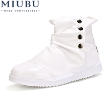 MIUBU New Mens Casual Wear Resistant Shoes Breathable High-Top PU 2019 Fashion Solid Color Males England Martin Boots