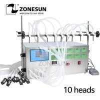 ZONESUN Electric Digital Control Pump Liquid Filling Machine 3 4000ml For Liquid Perfume Water Juice Essential Oil With 10 Heads