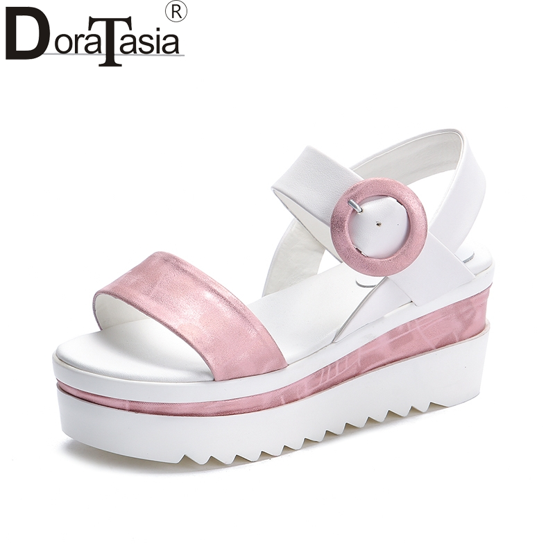 DoraTasia new size 33-40 fashion genuine leather summer sandals women leisure wedges high heels platform women shoes woman phyanic 2017 gladiator sandals gold silver shoes woman summer platform wedges glitters creepers casual women shoes phy3323