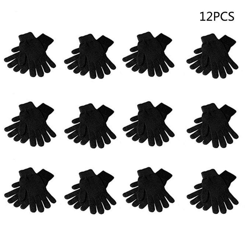 12Pairs Black Magic Gloves Adult Children Full Five Fingered Stretchy Knitted Winter Warmer Solid Color One Size