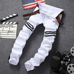 Image 3 - 白人男性のジーンズストレート新ブランドリッピング穴デニムジーンズジッパーサイドブラックストライプ、男性のパンツスリムプラスサイズのズボン