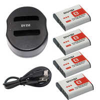 4Pcs 1300mAh NP-BG1 NP BG1 Camera Batteries+USB Charger for SONY Cyber-shot DSC-H3 DSC-H7 DSC-H9 DSC-H10 DSC-H20 DSC-H50 DSC-H55