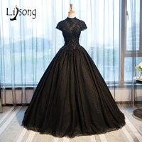 2017 Black Gothic Wedding Dresses High Collar Casamento Vintage Bridal Gowns Shiny Beaded Appliques Vestido De