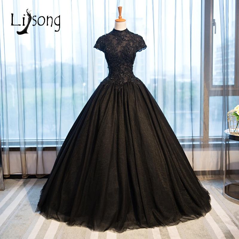 2017 Black Gothic Wedding Dresses High Collar Casamento Vintage Bridal Gowns Shiny Beaded Appliques Vestido De Novia A146