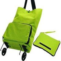 Fashion Folding Shopping Trolley Bag Women Shopping Bag With 2 Wheels Reusable Duffle Bag