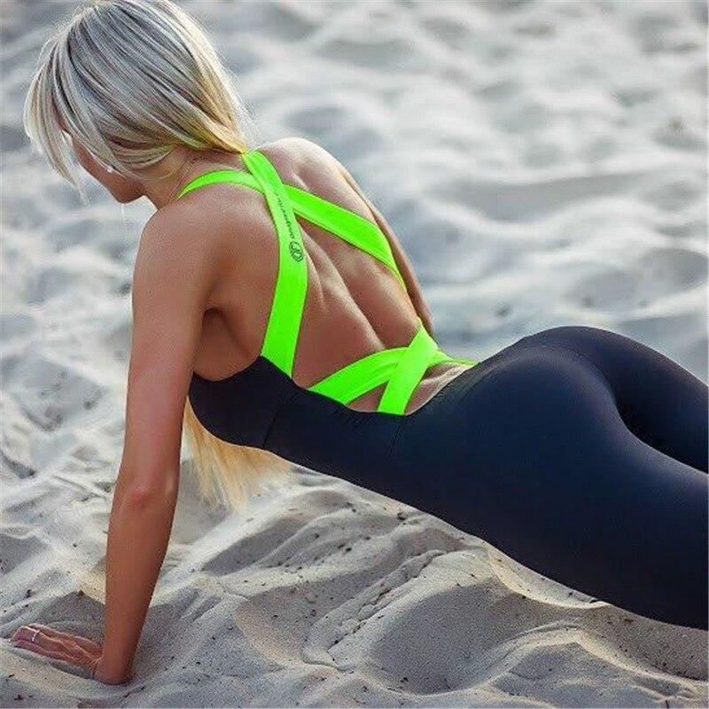 ZMDY Fitness Set Yoga Sets One Piece Jumpsuit Sportswear Rompers Sports sexy Women leggings Straps Jumpsuits Leggings + bra