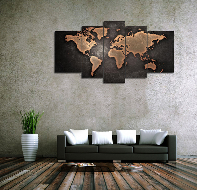 Free shipping 5 panel large hd printed oil painting print art world free shipping 5 panel large hd printed oil painting print art world map canvas home decor gumiabroncs Image collections