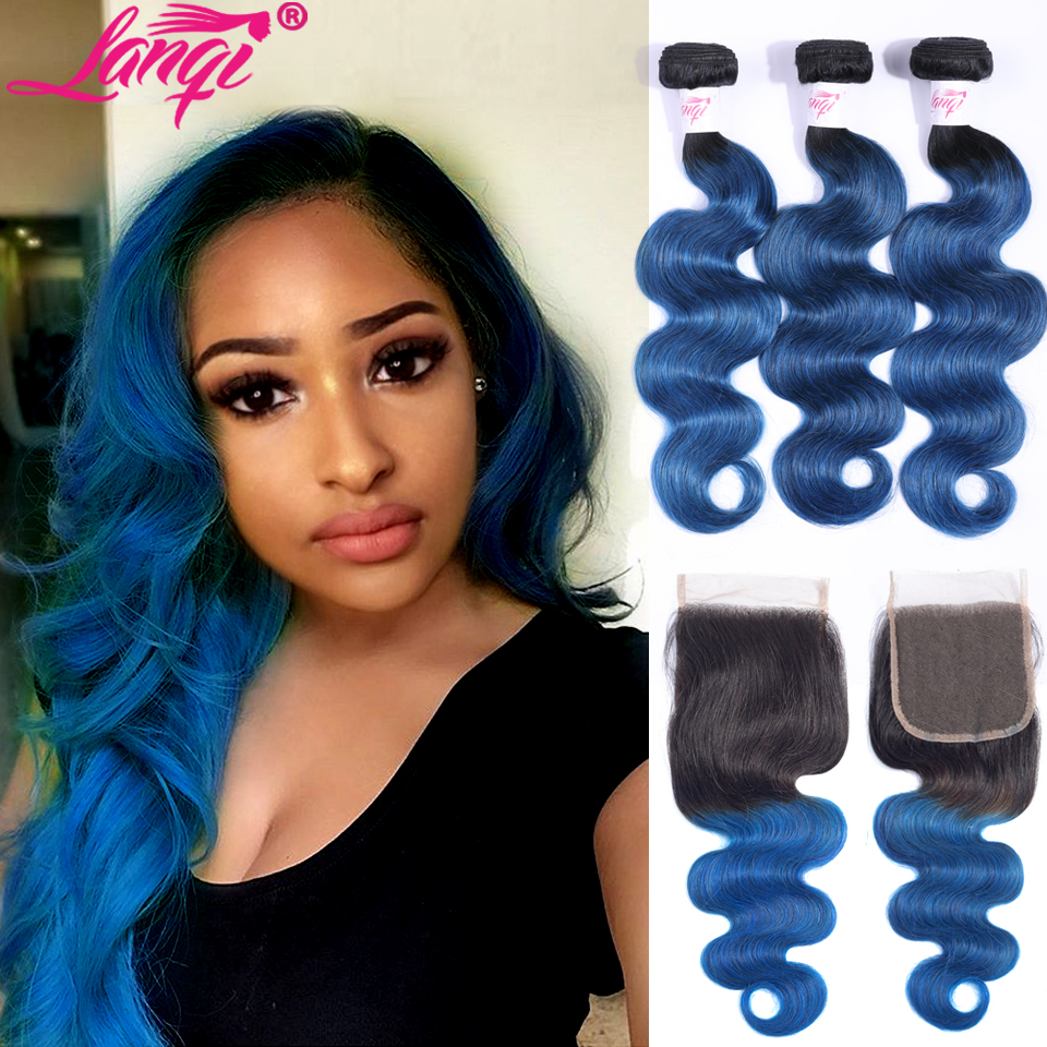 Ombre Bundles With Closure Brazilian Body Wave 2 3 Bundles With Closure Colored 1B/Blue Human Hair Weave Bundles With Closure