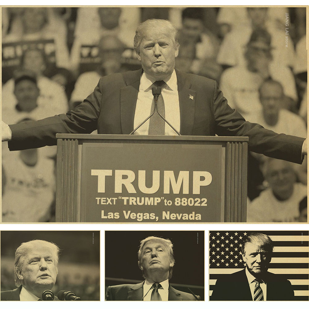 Classic retro Poster Donald font b Trump b font Retro Vintage Kraft Decorative Poster DIY Wall