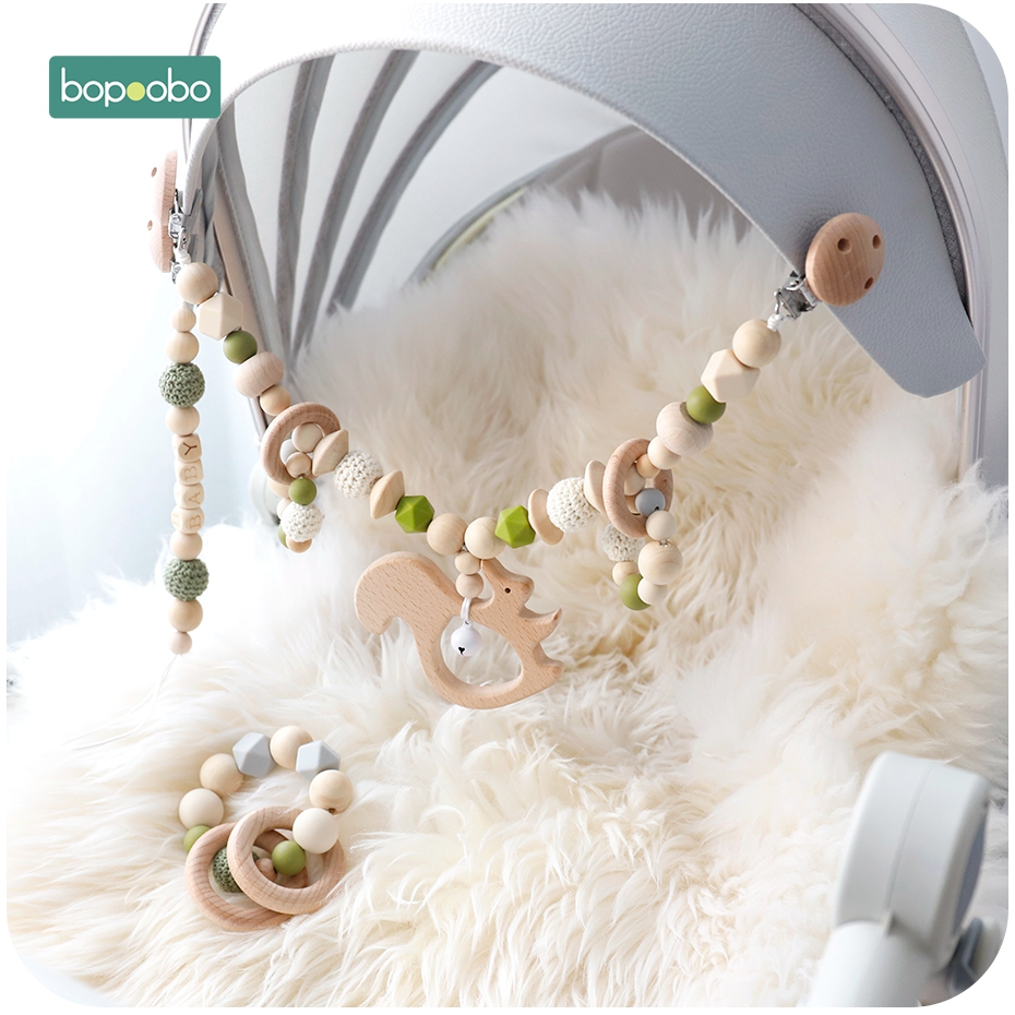 Bopoobo Baby Pram Crib Activity Animal Toy Pram Activity Bar With Rattle Dummy Clip Pacifier Soother Holder Baby Teething