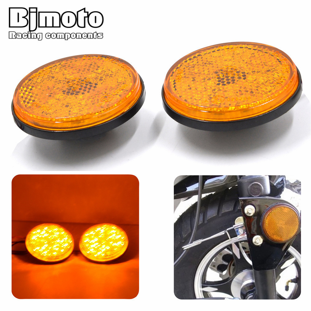 BJMOTO High Quality A Pair Round Yellow Lens Yellow LED Reflectors Brake Light for Universal Motorcycle ATV Scooter