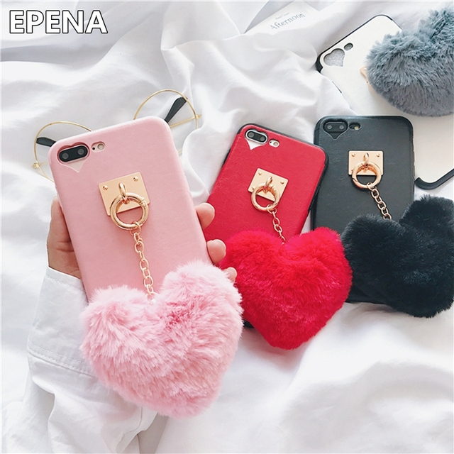 finest selection 04162 faff9 Aliexpress.com : Buy EPENA Luxury Rabbit Fur love Ball Heart Case For  iphone 8 Plus X Furry Hair Winter Soft Cases For iphone 6 6s 7 Plus Cover  from ...