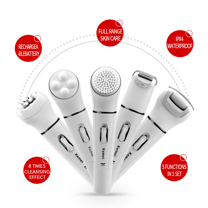kemei 5 in 1 Beauty Tool Kit Facial Cleansing Brush Body Epilator Lady Shaver Face Massager Foot Dead Skin Callus Remover