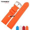 Universal cinta exterior à prova d ' água pulseira de silicone coloridos de borracha assista banda 22 mm laranja vermelho azul