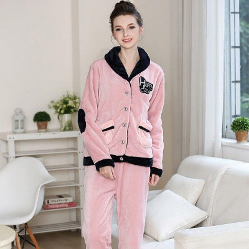 Automne hiver femmes flanelle pyjamas femme ensemble de vêtements de nuit pantalon complet dame chemise de nuit femme maison vêtements femme solide pyjamas