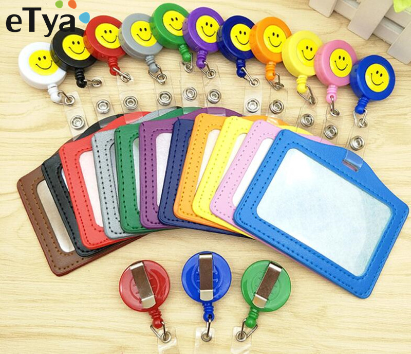 ETya Women Men Credit Card Case Holder Cartoon Bank Credit Card Bag  Bus ID Holders Identity Badge With Cartoon Retractable Reel